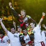 Tom Pages of France celebrates his victory during the finals of the third stage of the Red Bull X-Fighters World Tour at the Plaza de Toros de Las Ventas in Madrid, Spain on July 11, 2015.