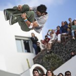 Dimitris Kyrsanidis of Greece competes during the Red Bull Art Of Motion in Firostefani area on island of Santorini, Greece on October 4th, 2014
